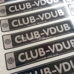 CLUB-VDUB Stickers (External) In stock now, for immediate dispatch, these glossy vinyl stickers measure 290mm X 60mm and will look great stuck on your dub, coolbox, camping toilet... wherever! Price is just £2:00 each (£1:50 each to members to CLUB-VDUB members) or get one FREE when you become a paid up member of CLUB-VDUB. P&P extra.