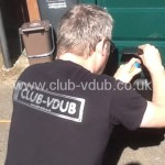 CLUB-VDUB T-Shirts In stock now for immediate dispatch, these t-shirts are black in colour and feature the CLUB-VDUB logo on the front, just above the left breast position and on the rear across the shoulders (as shown) in silver. Sizes currently available are SMALL, MEDIUM, LARGE, X-LARGE & 2X-LARGE. Price is just £12:00 each (£10:00 each to CLUB-VDUB members) or get one FREE when you become a paid up member of CLUB-VDUB. P&P extra.